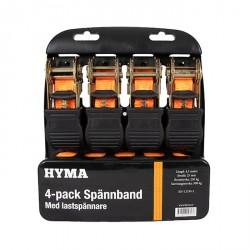 Стяжной ремень 250/500кг 4,5 метра Комплект 4шт (стяжка для багажа) HYMA