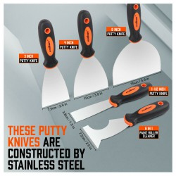 """Шпатель или скребок для дома 5 Pcs Putty Knife Set Drywall Knife Painter Stainless steel 1.5"""" 3"""" 4"""" 6"""" 6 in 1"""